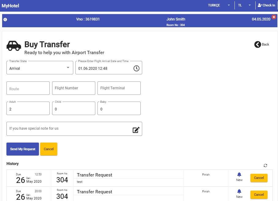 Elektra Temassız Misafir Uygulaması transfer satın alma